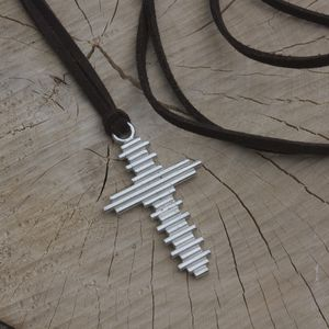 Mens Silver Cross Necklace