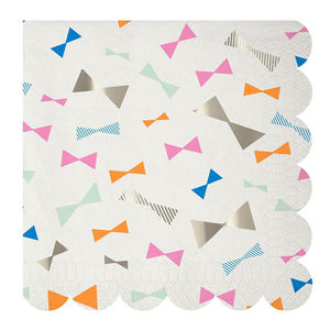 Colourful Bow Print Paper Party Napkins