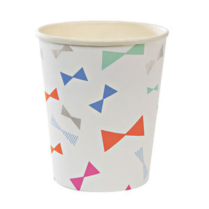 Colourful Bow Print Paper Party Cups - weddings sale