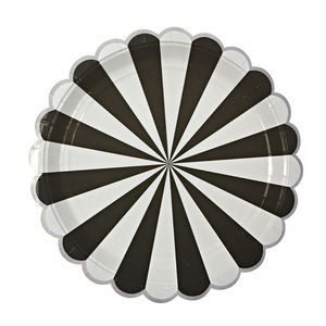 Striped Black Paper Party Plates