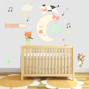 Hey Diddle Diddle Fabric Wall Stickers - wall stickers