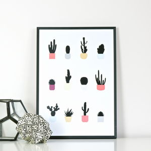 Cacti Print - soft colour pop
