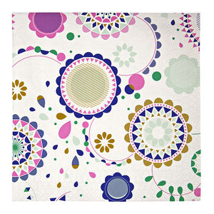 Geometric Floral Print Paper Party Napkins - table linen