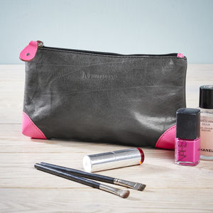 Leather Make Up Bag - washing & bathing