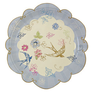 Floral And Swallow Print Paper Party Plates