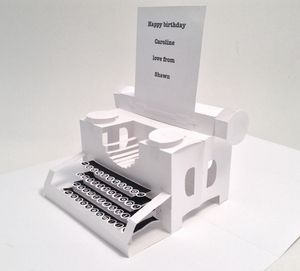 White Personalised Typewriter Pop Up Card - birthday cards