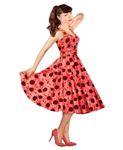 1950s Style Coral Sunflower Dress