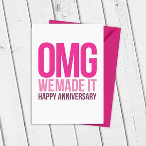 'Omg!' Happy Anniversary Card In Pink Or Blue - 1st anniversary: paper