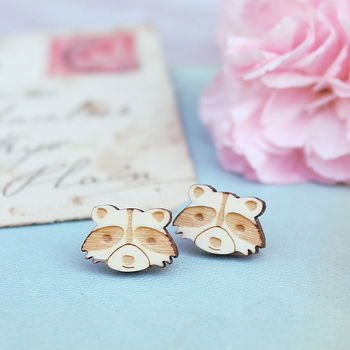 Wooden Racoon Stud Earrings