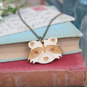 Wooden Racoon Necklace