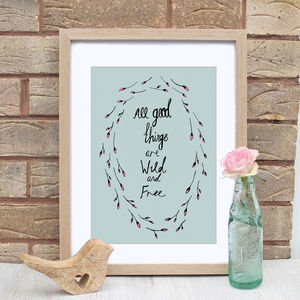 Wild And Free Nature Quote Print - typography