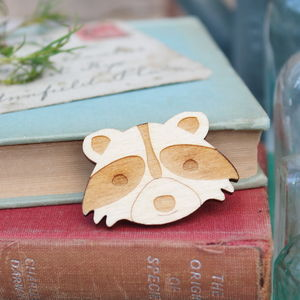 Wooden Racoon Brooch