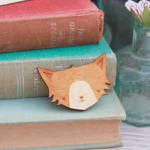 Wooden Cat Brooch