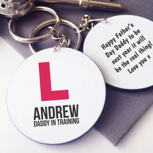 Personalised L Plates New Dad Keyring