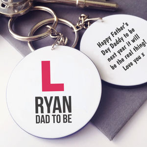 Personalised L Plates Dad To Be Keyring