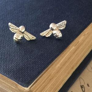 Bumble Bee Stud Earrings In Sterling Silver