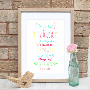 Flower Garden Love Quote Print