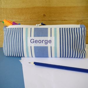 Personalised Striped Design Pencil Case - stationery