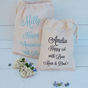 Personalised Message Cotton Gift Bag - ribbon & wrap