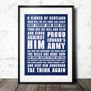 O Flower Of Scotland Rugby Song Lyrics Poster