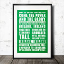 Ireland's Call Rugby Song Lyrics Poster