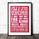 Land Of Father's Wales Rugby Song Lyrics Poster