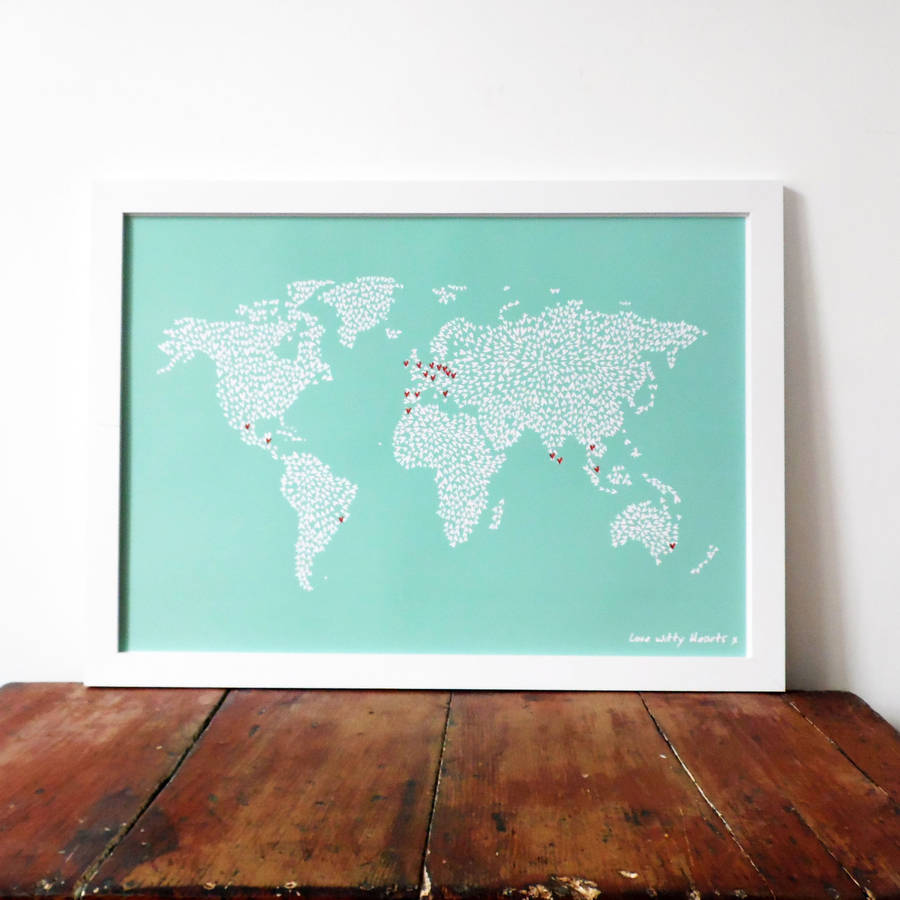 World map wall sticker destination markers by the binary box large teal map of the world with heart stickers gumiabroncs Image collections