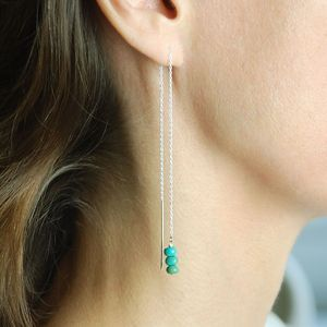 Birthstone Threader Earrings - january birthstone