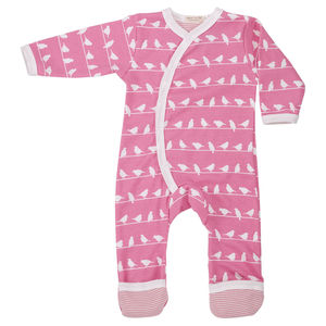 Baby Girl Pink Birds Romper - babygrows