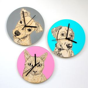 Bespoke Hand Coloured Pet Portrait Clocks - office & study