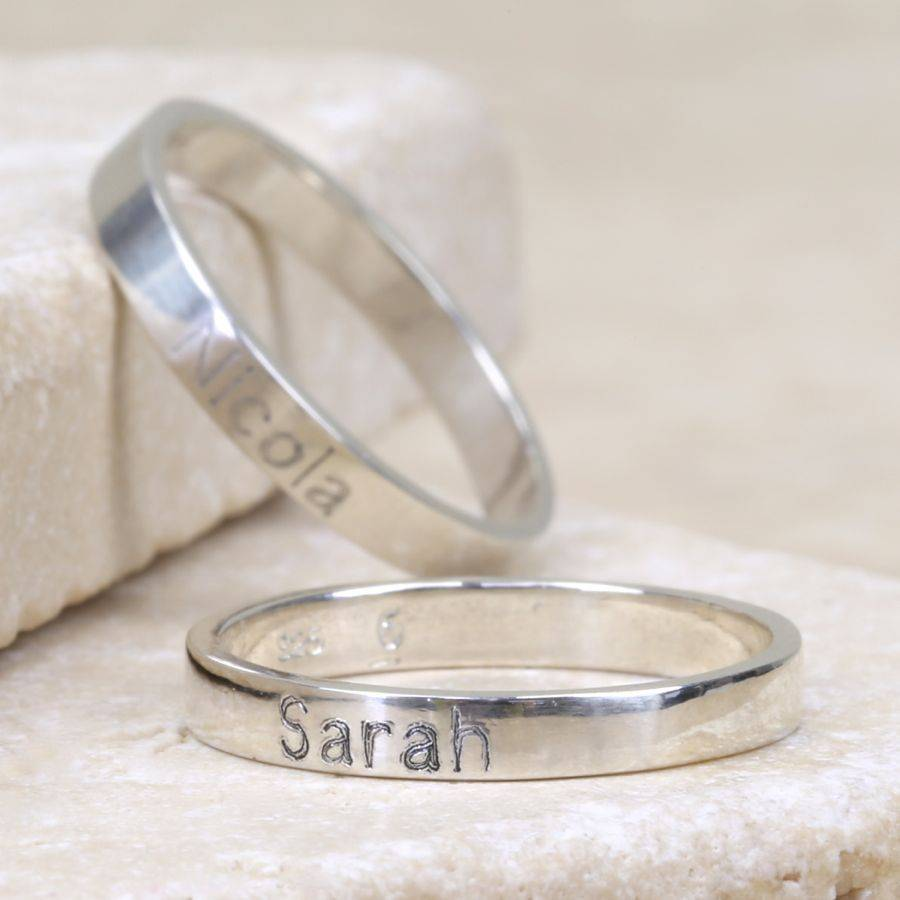 engraved sterling silver name ring by lisa angel. Black Bedroom Furniture Sets. Home Design Ideas