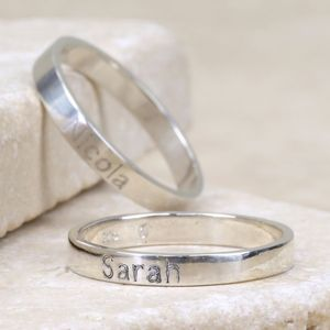 Engraved Sterling Silver Name Ring - rings