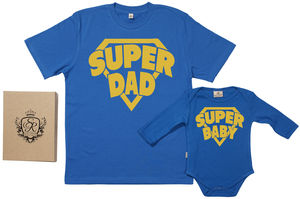 'Super Dad' And 'Super Baby' Father And Baby Gift Set - father & child sets