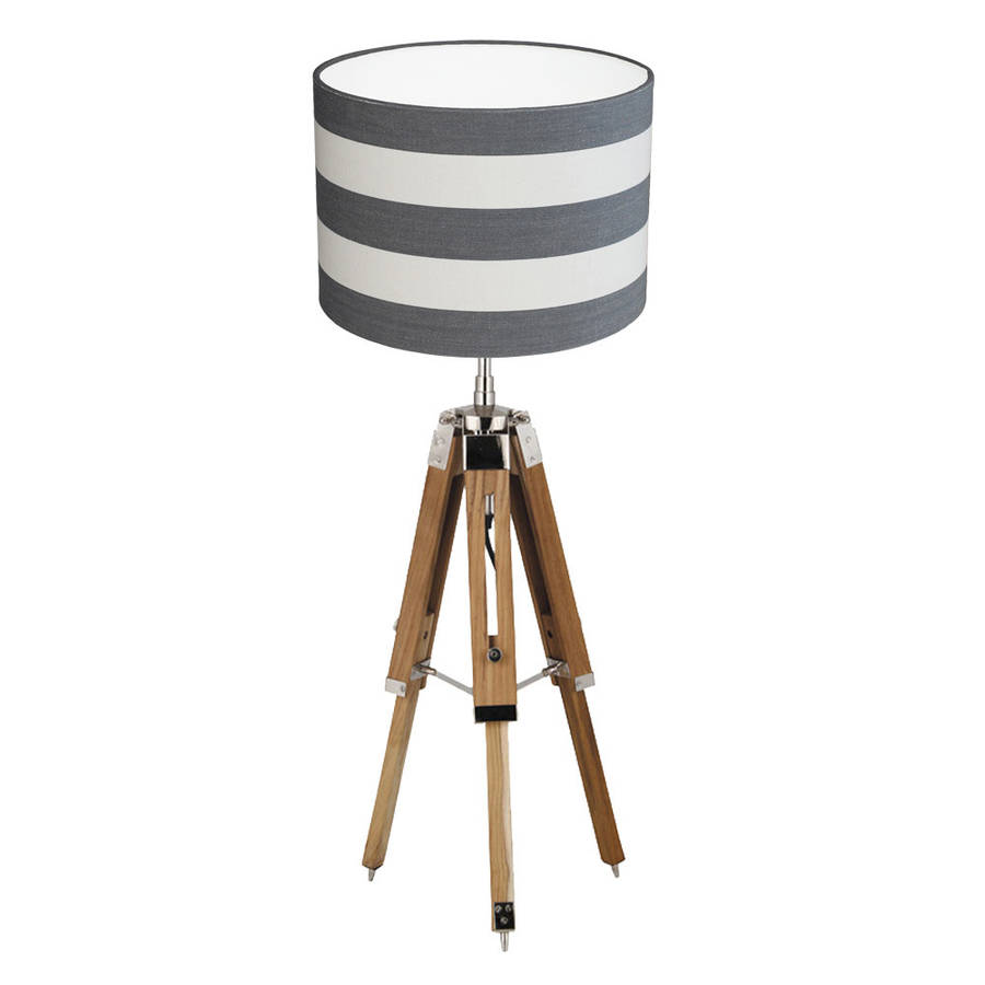 Tripod table lamp stripe shade by quirk notonthehighstreet tripod table lamp stripe shade aloadofball Images