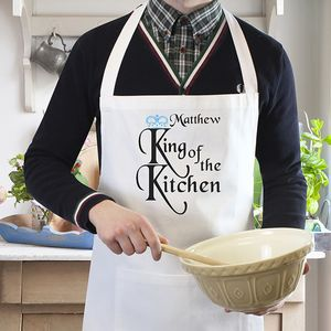 King Of The Kitchen Personalised Apron - kitchen linen