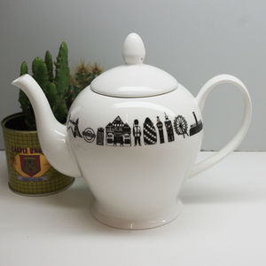 Illustrated Two Cup London Teapot - kitchen linen