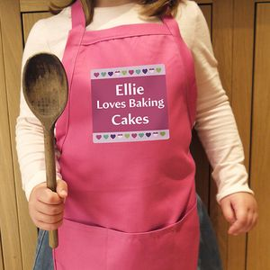 Hearts Childrens Personalised Pink Apron
