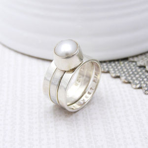 Personalised Pearl Stacking Ring - gifts sale