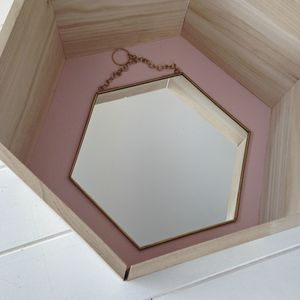 Medium Hexagon Shaped Brass Mirror - mirrors