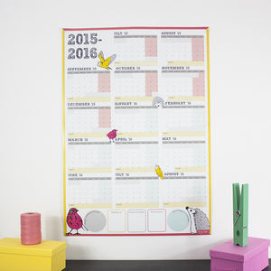 Large Academic Calendar And Year Planner 2015 2016 - children's room