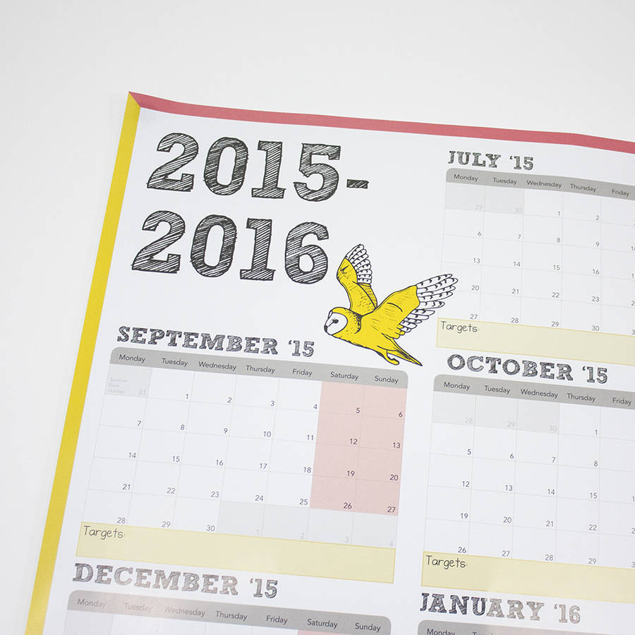 large academic calendar and year planner 2015 2016 by