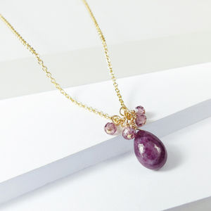 July Birthstone Ruby Drop Pendant