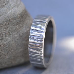 Handmade Blacksmith's Oxidised Silver Wedding Ring - wedding rings