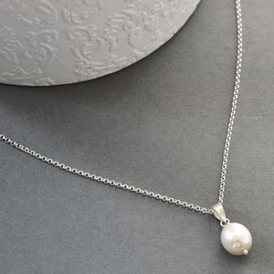 Silver Pear Shaped Pearl Necklace - wedding jewellery