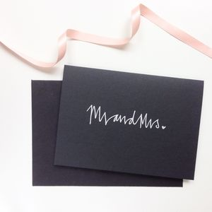 Hand Lettered 'Mr And Mrs' Wedding Card