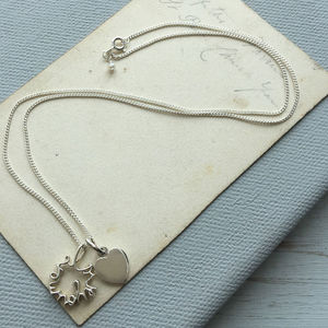 'Love You More' And Letter Heart Necklace In Silver - necklaces & pendants