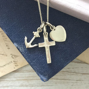 Faith, Hope And Charity Necklace In Sterling Silver