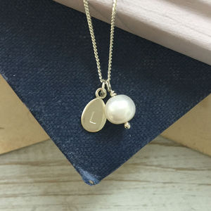 Alphabet Letter Charm With Pearl Necklace