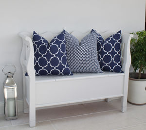 Fitzgerald Linen Cushion In French Navy - bedroom