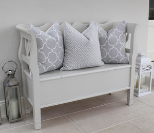 Fitzgerald Linen Cushion In Dove Grey - bedroom